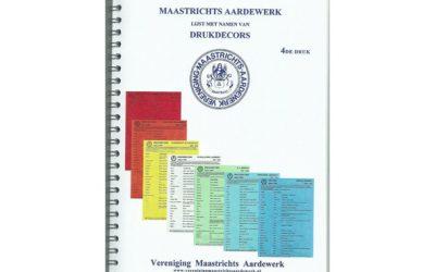 Maastrichts Aardewerk lijst met namen van Drukdecors